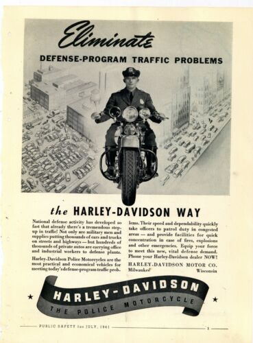 1941 Harley Davidson Police Motorcycles Ad: World War Two Defense Program Theme