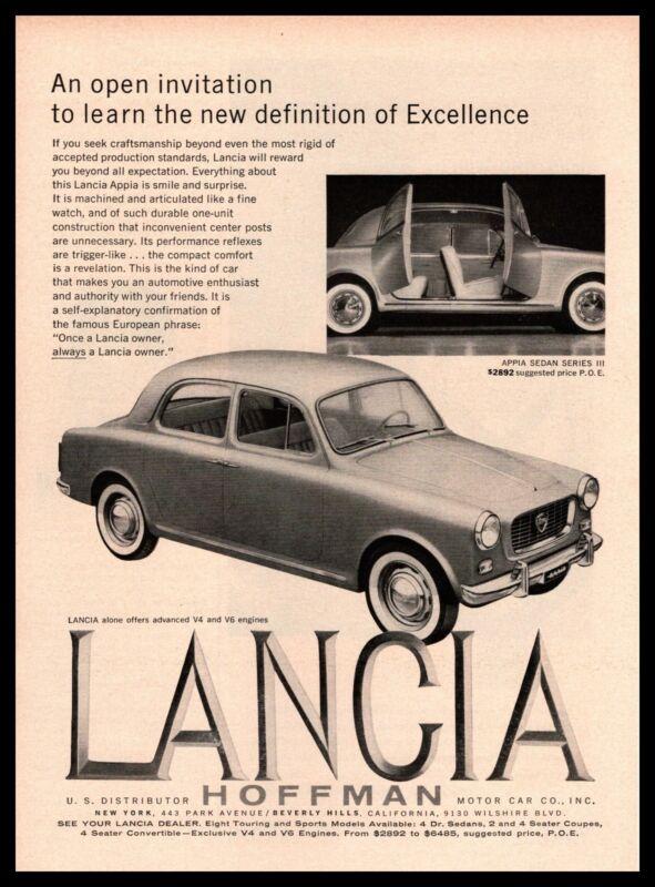 1960 Lancia Appia Sedan Series III Hoffman Motor Cars New York Vintage Print Ad