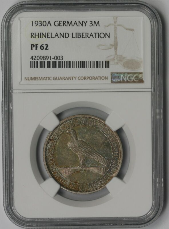 1930A Germany Silver 3 Reichsmark 3M PF 62 NGC Rhineland Liberation ~ Color