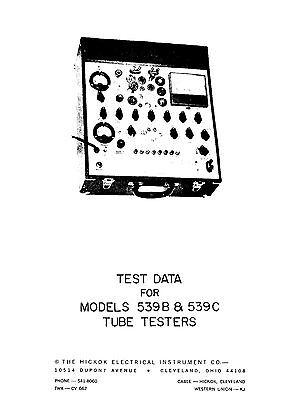 Hickok 539b 539c Tube Test Data Book