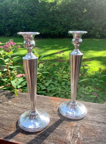 """Antique STERLING SILVER Weighted 10.5"""" CANDLESTICKS Candle Holders (1pr.)"""