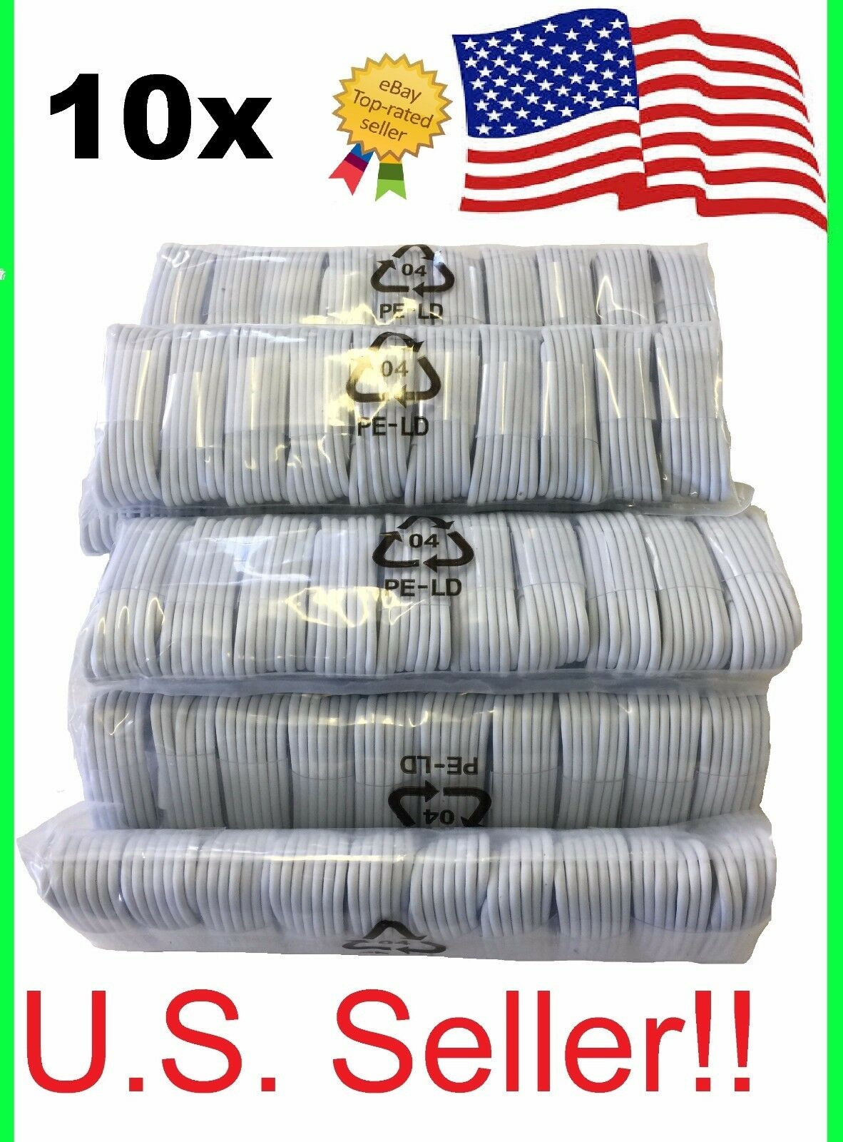 Iphone 5 Charger - 10 Pack USB Sync Charging Charger Cable Cord for Apple iPhone 5s se 8 plus 10 X