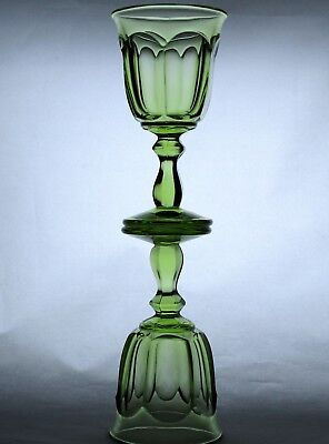 Pair 'OLD WILLIAMSBURG' IMPERIAL GLASS Verde Green Wine Goblets - PERFECT