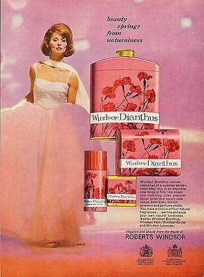 (original large colour advert 1962 . windsor dianthus soaps & toilet preparations)