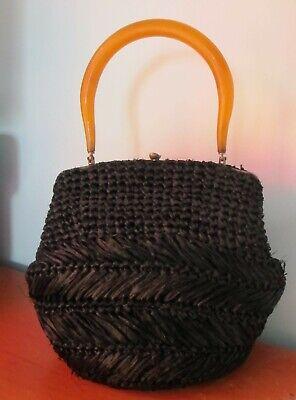 1950s Handbags, Purses, and Evening Bag Styles BAG Black Woven STRAW Amber LUCITE top handle Handbag Purse 50s Vintage Retro  $61.93 AT vintagedancer.com