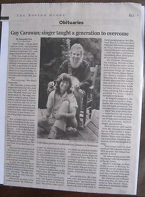 Obituary  Boston Globe 5 9 2015 Guy Carawan  87   We Shall Overcome Some Day