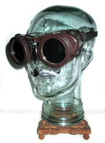 Antique Willson Kover Mor Goggles Safety Glasses Vtg Old Cool Mad Max Steampunk