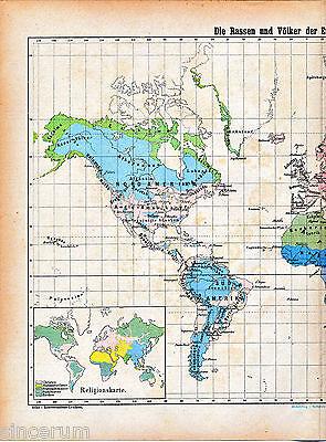 Rassen Völker 1881 orig. Atlaskarte races peoples Africa China India Australia