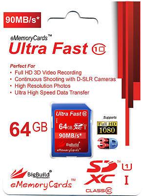 64GB Memory Card for Canon EOS 650D 6D 700D 70D C100 DSLR Camera SDXC Class 10