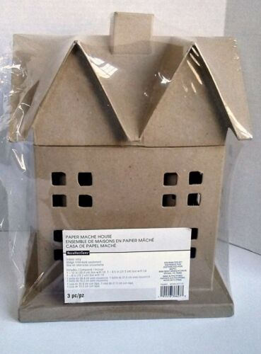 3-Sm. Med. Lge Paper Mache Houses Crafting Painting Upcycle Art Primitive Decor