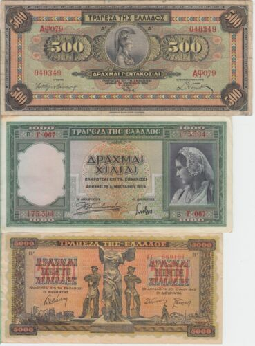Greece Lot #4 Collection of 6 Pre-1945 Banknotes, Nice Circulated, We COMBINE