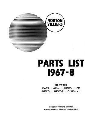 1967-1968 Norton 650ss Atlas N15CS P11 G15CS G15CSR G15 MkII parts book