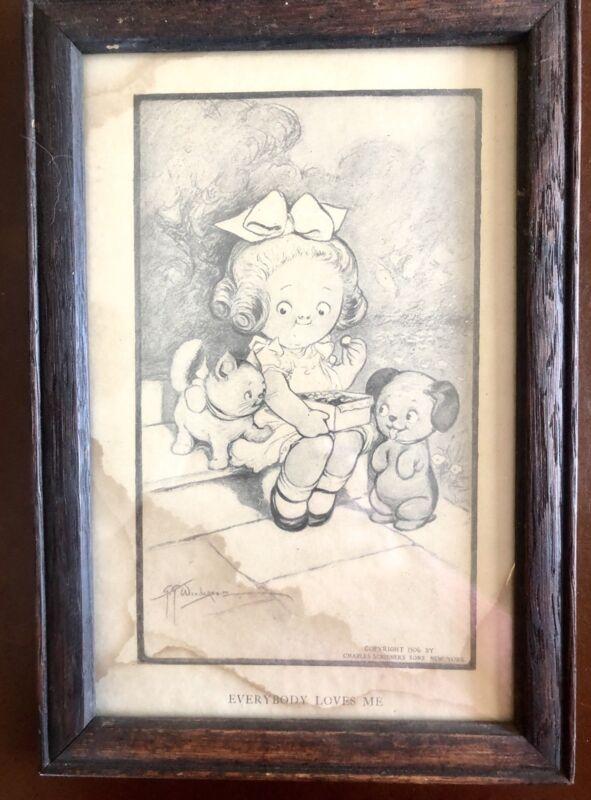 Signed Dated 1906 (Grace) G G Wiederseim-Drayton Print on Cardboard Orig Frame