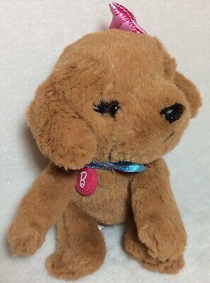 "Barbie Puppy Dog Mattel Plush Brown Stuffed Animal Pink Collar and Bow 7"" long"