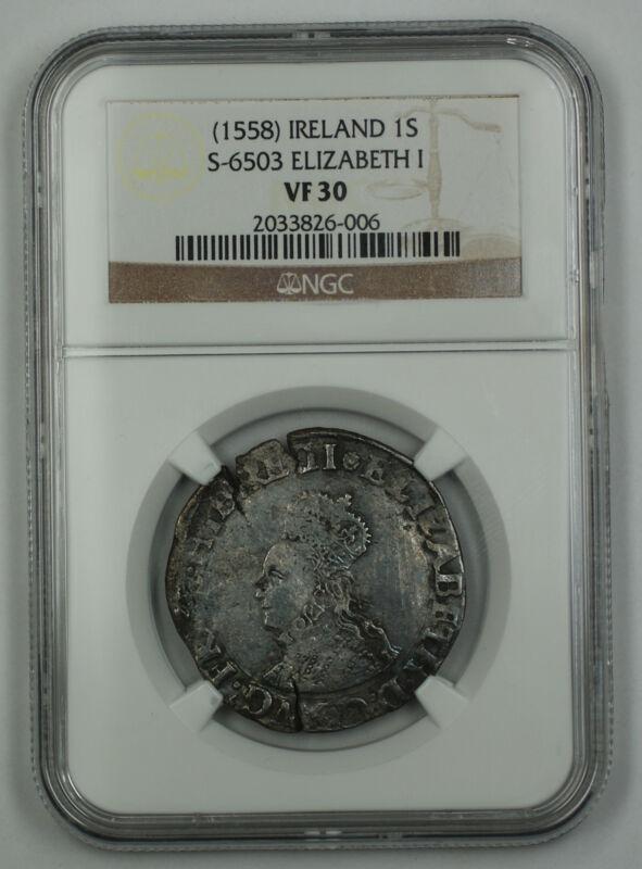 1558 Ireland 1 Shilling Coin S-6503 Elizabeth I NGC VF-30 AKR