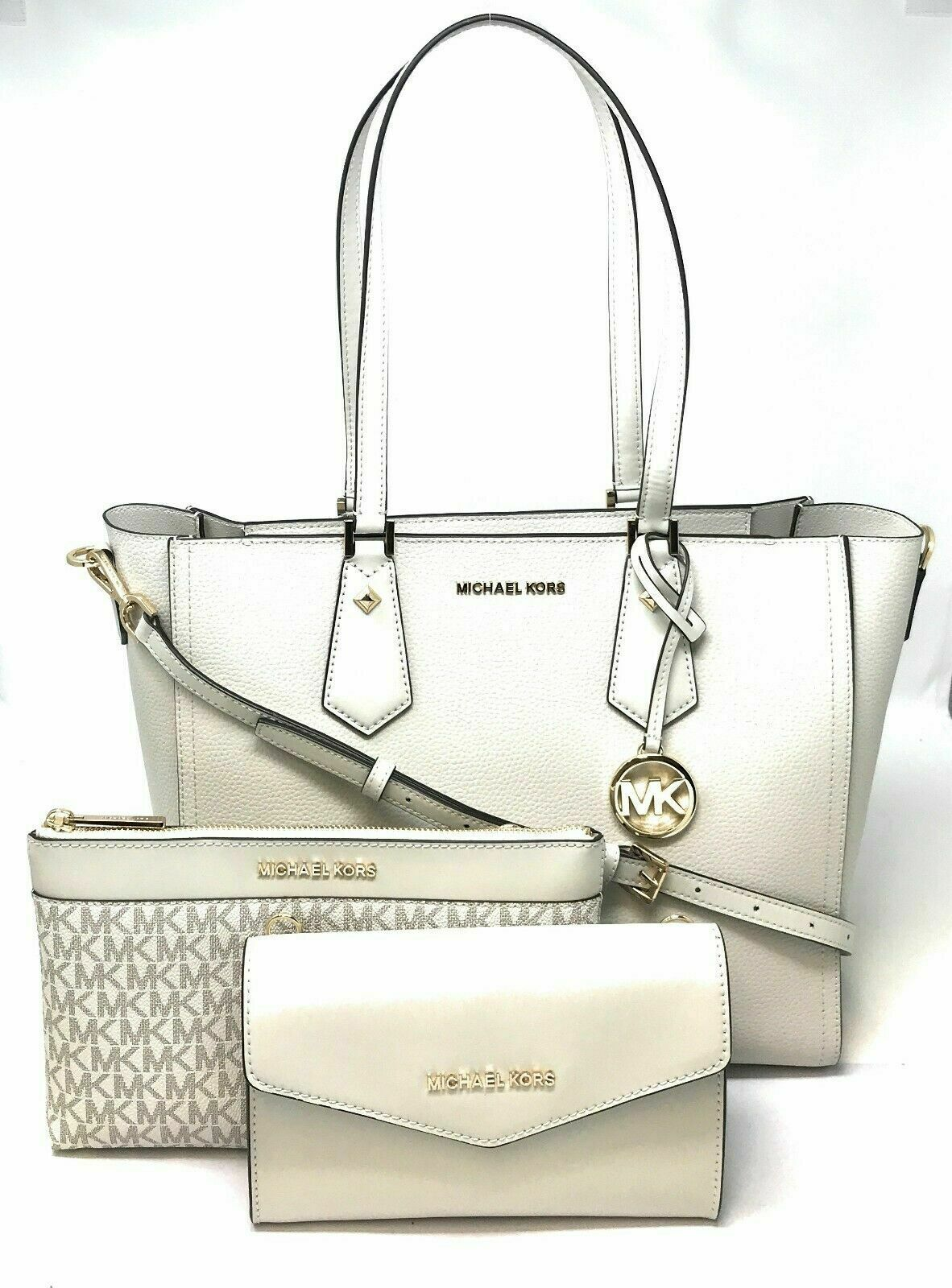 New Michael Kors Kimberly 3 In 1 Leather Tote Crossbody Bag Clutch Clothing, Shoes & Accessories