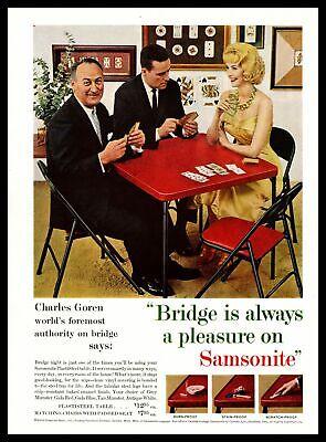 1959 Samsonite Plastisteel Card Table Charles Goren Bridge Pro Vintage Print Ad