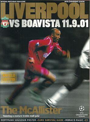 LIVERPOOL F.C V BOAVISTA 2001/02 CHAMPIONS LEAGUE MATCHDAY PROGRAMME