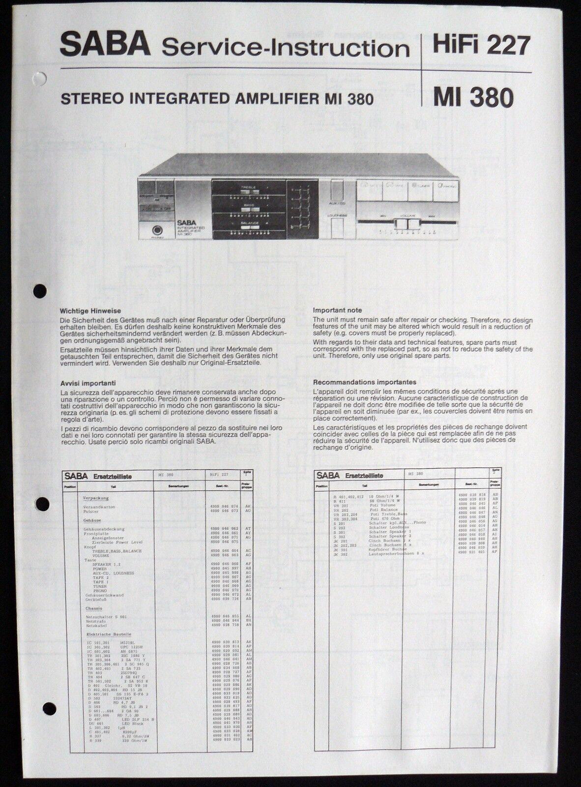 SABA HiFi 227 - Amplifier MI 380 Schaltbild Ersatzteilliste Service-Instruction