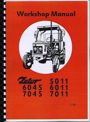 Zetor 5011, 6011, 7011, 6045, 7045 Tractor Workshop Manual + Supplements na sprzedaż  Wysyłka do Poland