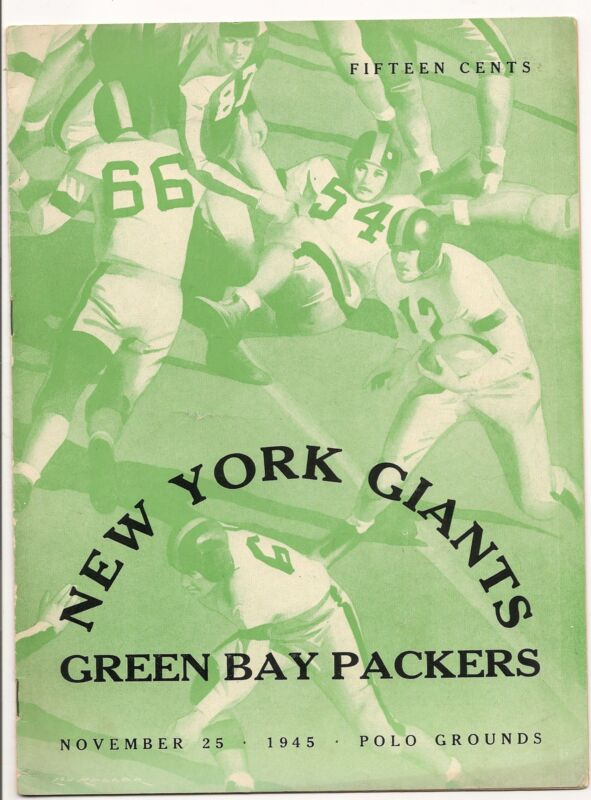 1945 New York Giants-Packers Program Fritsch Scores 2 Pack Wins NICE!!