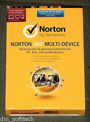 Nib  Norton 360 Multi Device 5Pc  Mac  Android  Ios  1Year  W 25Gb Backup