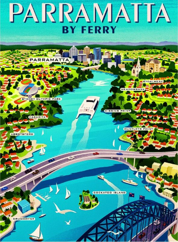 Parramatta by Ferry Sydney South Wales Australia Travel Advertisement Poster