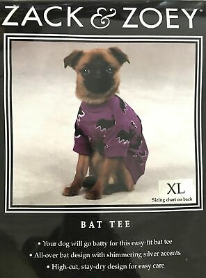 Zack & Zoe Halloween Bat Tee Shimmering Accents Dog Pet T-shirt  New All - Pet Bat