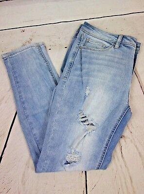 NEW Kensie Jeans Effortless Ankle Biter Shredded Jeans Silver Lake $59 Mid-Rise