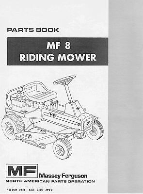 Massey Ferguson Model Mf8 Lawn Garden Tractor Parts Manual