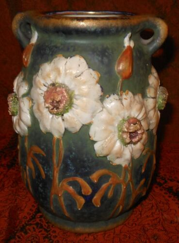 Wonderful Antique Art Nouveau Amphora Vase With 3D Daisies
