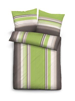 Fein Biber Baumwolle Bettwäsche 4 tlg 135x200 RV Streifen grau grün weiß