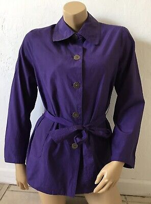 CHICOS Womens Size 1 Purple Belted Long Sleeve Collared Trench Coat Lined  - Purple Trench Coat