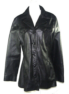 Wilsons Leather Women's Maxima Notch Collar Black Leather Jacket Size L