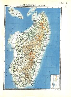 Colonial Empire French Madagascar Physical Antananarivo Map Card Atlas 1937