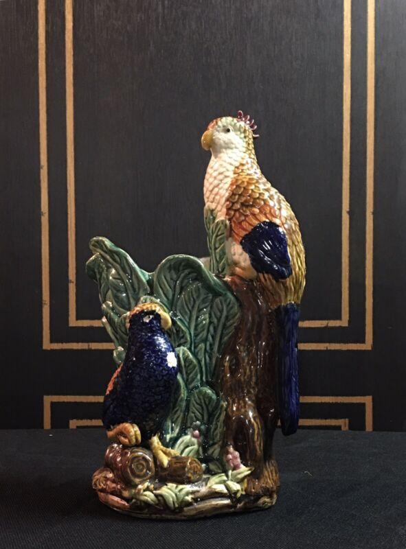 antique majolica vase Parrots