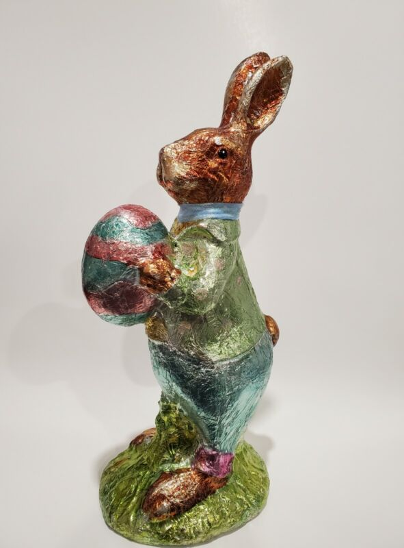 """VINTAGE 1970s/80s HUGE 15"""" EASTER FOIL WRAPPED FAUX CHOCOLATE RABBIT BUNNY"""