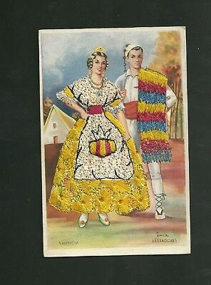 Valencia Spain Artist Signed Iraole Post Card Man & Woman in Embroided Costumes](Spain Costume)