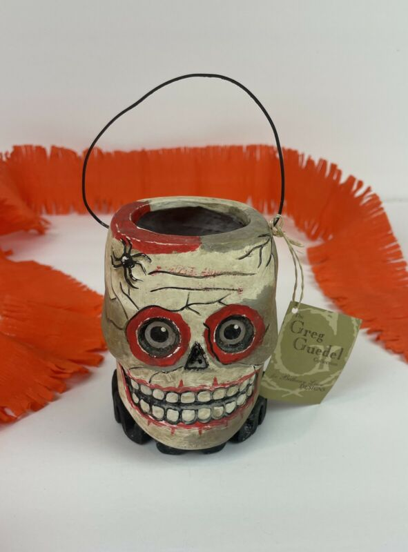 Bethany Lowe Halloween Skull Bucket Skeleton Container Greg Guedel Retired NWT