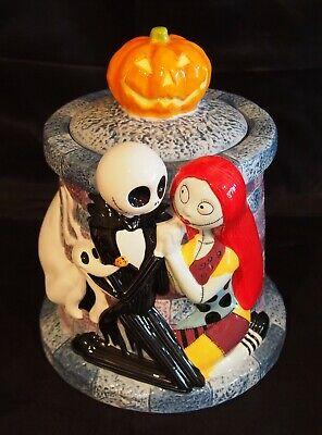 Nightmare Before Christmas ceramic Cookie Jar Jack & Sally Pumpkin Zero BlackCat