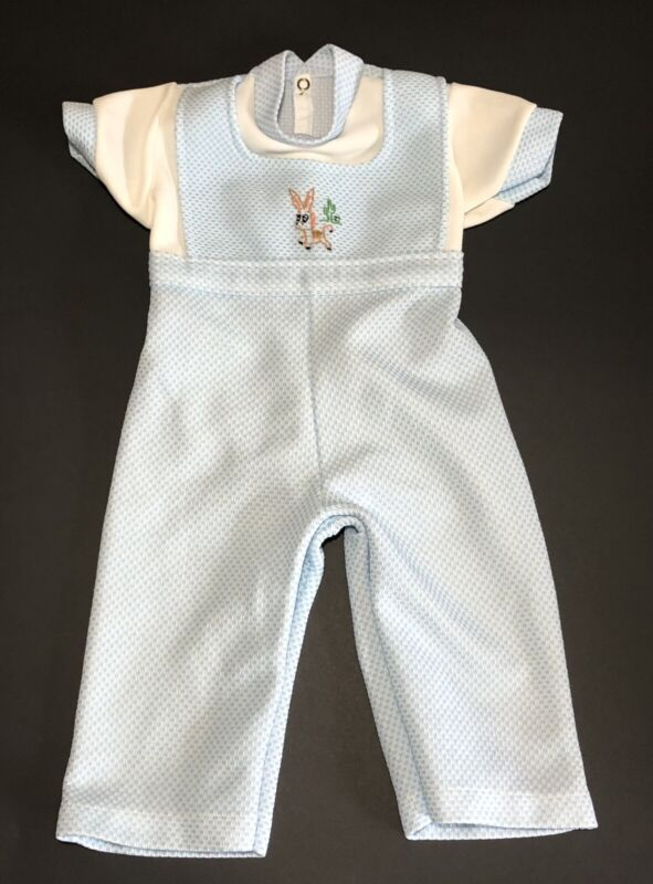 VTG Infant Baby Boy Blue/White Romper Bodysuit Outfits Jumpsuit Clothes