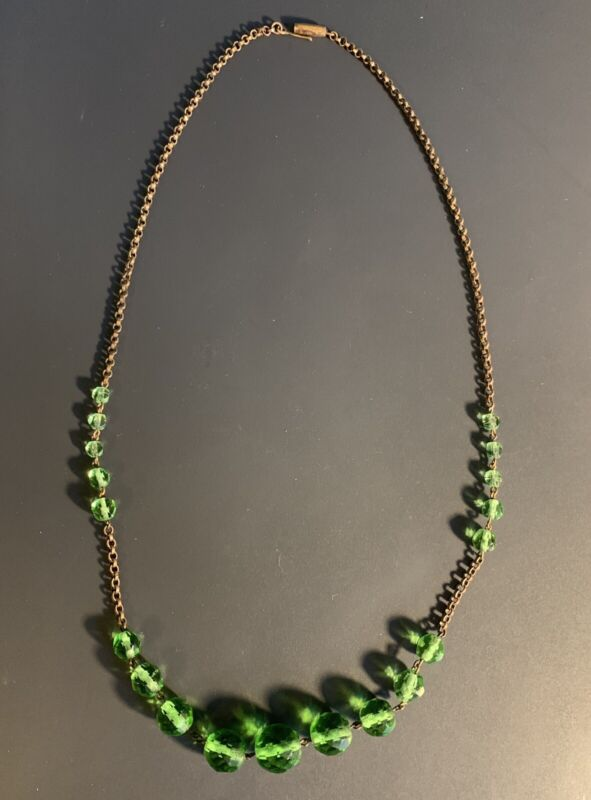 Art Deco Rose Gold Plated & Green Glass Necklace 1900 - 1920s Needs Repair