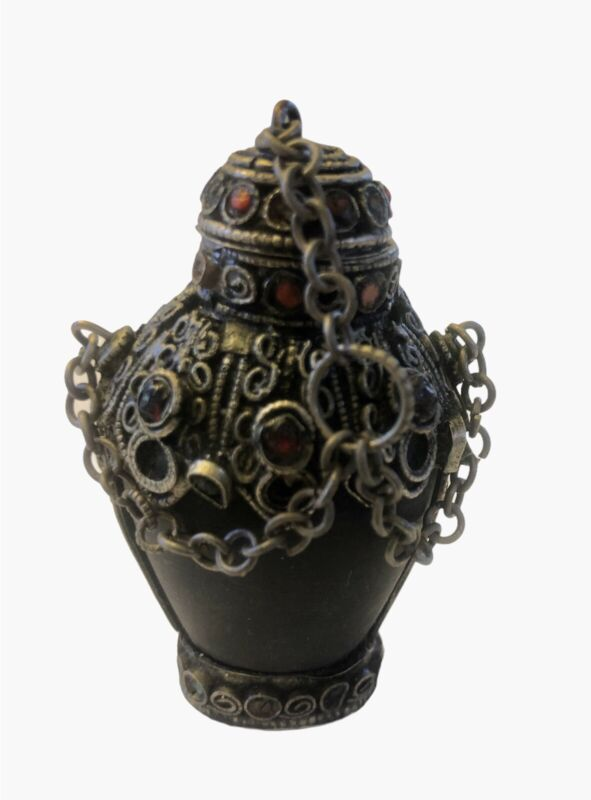 Vintage Chinese/Tibetan Snuff Bottle with Stones- Beautiful!