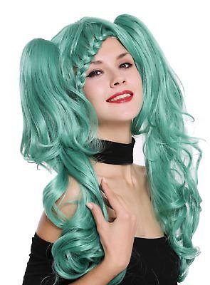 Perücke Damenperücke Cosplay Lolita kurz geflochten abnehmbare lange Zöpfe grün
