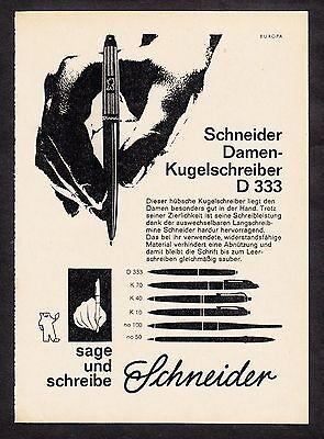 3w817/ Alte Reklame - von 1961 - SCHNEIDER Damen-Kugelschreiber D 333