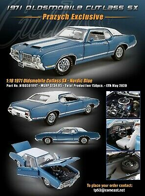 ACME 1:18 1971 OLDSMOBILE CUTLASS SX NORDIC BLUE - EXCLUSIVE: ONLY 150 PIECES