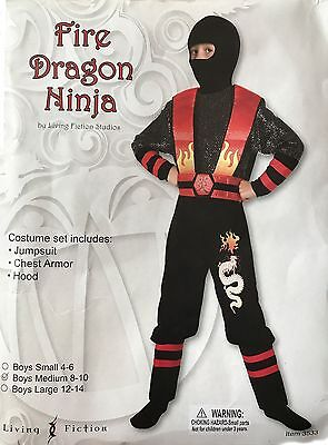 Fire Dragon Ninja Costume (MASKED FIRE DRAGON NINJA WARRIOR CHILD HALLOWEEN COSTUME BOY'S SIZE MEDIUM)