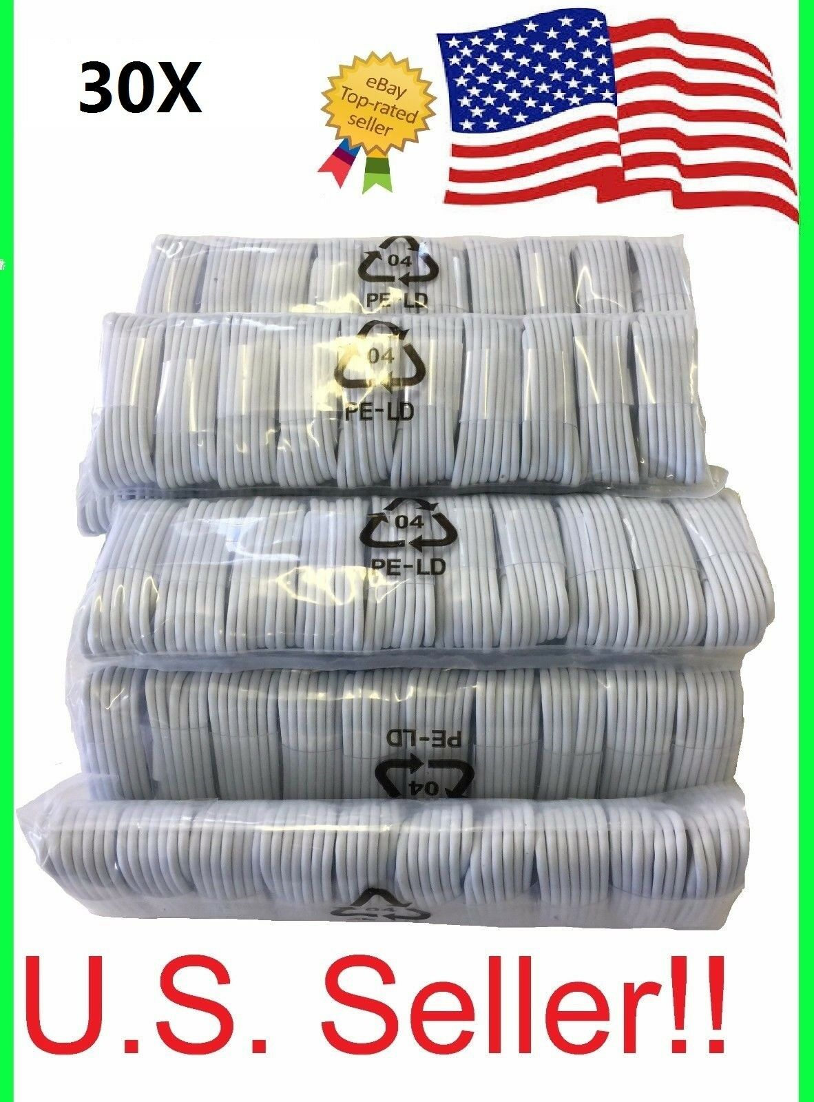 Iphone 5 Charger - 30x Lightning USB Cable Charger for Apple iPhone 5 6S 7 8 or Plus Wholesale lot
