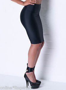 SIZE-12-14-BLACK-SILKY-NYLON-LYCRA-PULL-ON-PENCIL-WIGGLE-SKIRT-OFFICE-SEXY-P99