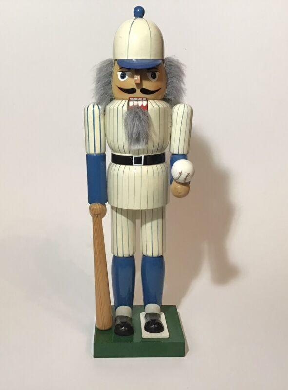 """VTG Nutcracker Baseball Player Blue Stripe White Jersey Cap Wooden 15""""H"""